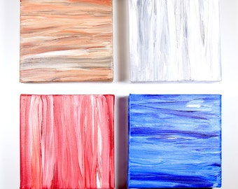 Abstract Acrylic Painting Set of Four Elements Earth Air Fire Water