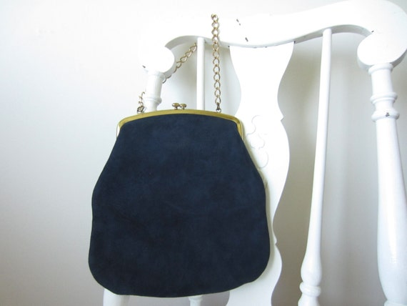 vintage soft navy suede purse with gold chain