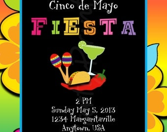 Printable - Cinco de Mayo - Fiesta Invitations - Personalized