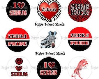 INSTANT DOWNLOAD Zebras School Mascot 1 inch Circle Bottlecap Images 4x6 sheet