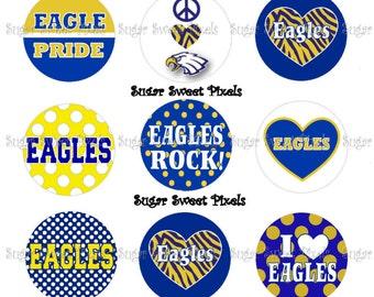 INSTANT DOWNLOAD Eagles School Mascot 1 inch Circle Bottlecap Images 4x6 sheet
