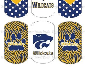INSTANT DOWNLOAD Wildcats School Mascot Blue & Gold Digital Dog Tag Images 4x6 sheet