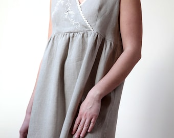 Pure Linen Sleeveless Night Gown For Woman With Delicate Hand Embroidery
