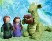 Waldorf Inspired Handmade Needle Felted Dragon, Princess, Prince and Treasure Set