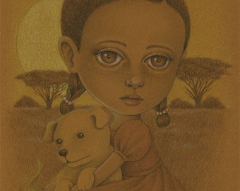 ON SALE Pencil Drawing of Little African Girl and Puppy, Original Art, Children's Illustration