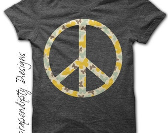 Peace Iron on Shirt - Hippie Iron on Transfer / Nursery Wall Art / Peace Shirt Design / Tween Girls Clothes / Iron on Patch Digital IT151-R