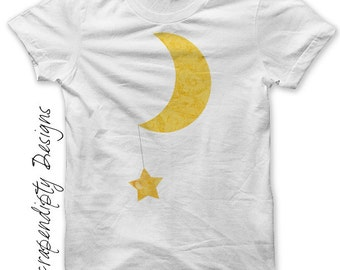 Moon and Star Iron on Shirt - Baby Iron on Transfer / Cute Baby Clothes / Toddler Star Shirt / Nursery Room Printable / Moon Shirt IT113-P