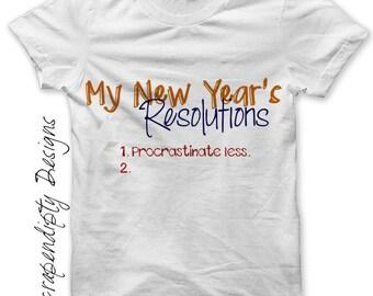 New Year Iron on Shirt PDF - Resolution Iron on Transfer / Womens Shirt Design / New Years Tshirt / Digital Graphics / Kids Clothing IT152
