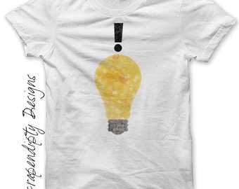 Good Idea Iron on Transfer - Lightbulb Iron on Shirt / Mens Geek Tshirt / Kids Clothing Tops / Handy Man Shirt / Smart Baby Clothes IT97-C