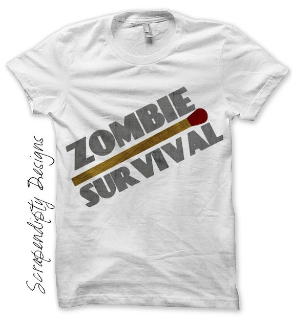 Zombie Iron on Shirt PDF - Matchstick Iron on Transfer / Zombie Survival Shirt / Mens Tshirt / Apocalyspe Clothes / Kids Boys Clothing IT77