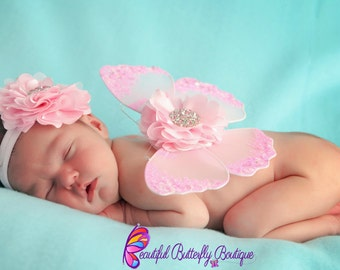 SALE Baby Pink Newborn Butterfly Wing Set and Matching Headband, Photo Prop, Glitter Butterfly Wings, Newborn Baby Wings