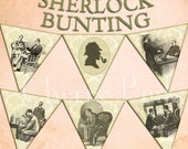 SHERLOCK HOLMES BUNTING digital printable bunting download for scrapbooking, party printables and graphic design.