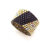 Black and Gold Ring, Geometric Ring Band, Black Ring, Beaded Ring, Asexual Ring, Couple Rings