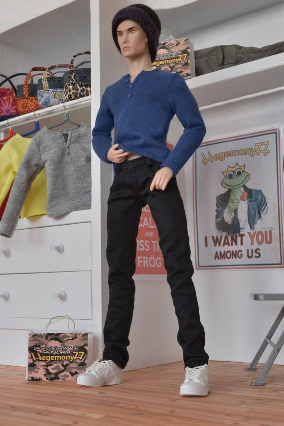 Longer 1/6th scale black jeans pants / trousers for: Fashion Royalty male dolls and taller action figures