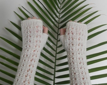 White Fingerless Gloves, Arm Warmers, Hand Knitted Winter Gloves, Gift for Her,