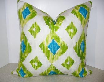 Ready to Ship BOTH SIDES 20 x 20 pillow cover Richloom Kashan Kiwi teal green