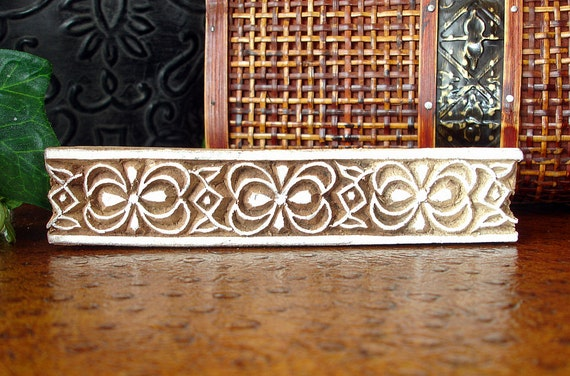 Hand Carved Wood Stamp: Printing Block, Ribbon Bow Rectangle Wooden Border Block Stamp from India