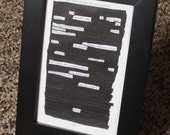 Lay Dismally Still -- Framed 4x6 Blackout Poem