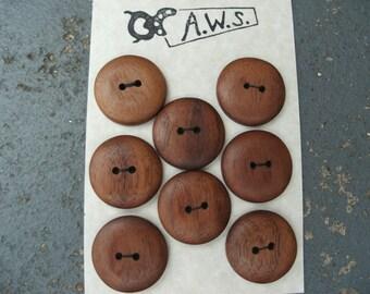 8 Wood Buttons Black Walnut (1 Inch)
