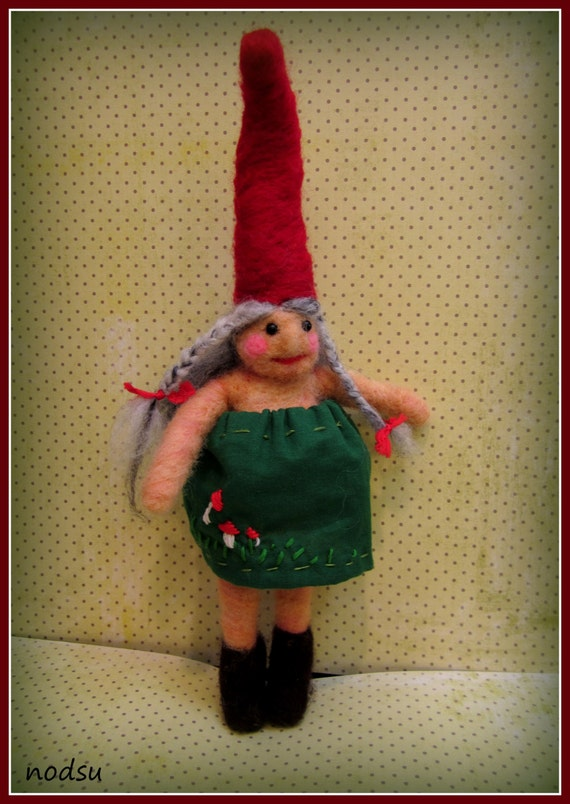 MATURE  Naked felted naughty gnome wife with skirt, needle felted nekked lady, humor gift