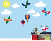Airplanes Hot Air Balloons Clouds FABRIC WALL DECAL  612