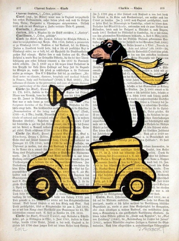 Dachshund On Moped Art Doxie Dog on Vespa good driver Print Poster Mixed Media dictionary print Illustration Decor Gift for Doxie lover gift