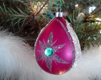 Vintage Christmas Teardrop Ornament West Germany Glass Oval Starburst Pink