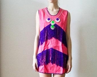"""Vintage 70s 'Neon Fringe"""" pink mod  shift dress with purple fringe size S M"""