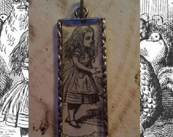 Black and White Alice in Wonderland Pendant