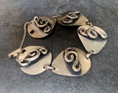 Rockabilly Vintage 1950s 50s 1960s 60s Link Bracelet Musical Music Note Treble Clef Silver Tone Not Sterling Silver