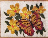 RESERVED for MARIA thru Sept 30, 2016 - Vintage Shag Rug Kit 1970s 70s Latch Hook Butterfly Flowers Wall Hanging Picture Groovy Hippie