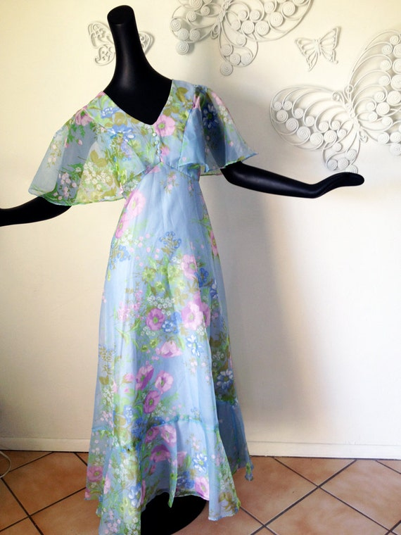 Vintage 70s Hippie Dress Prom Dress 1970s Fairy Dress Sheer