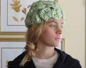 Vintage Mint Green Silk Flower Hat