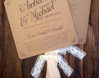 Wedding Program Fans \\ Kraft and Lace \\ Ceremony