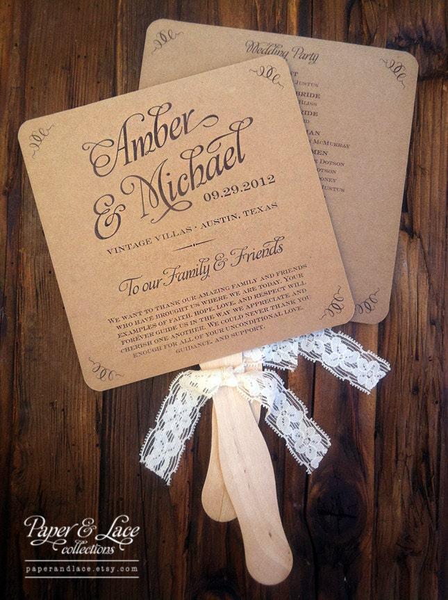 Wedding program fans rustic kraft lace set of 50 onepaperheart stationary invitations for Rustic wedding program fans