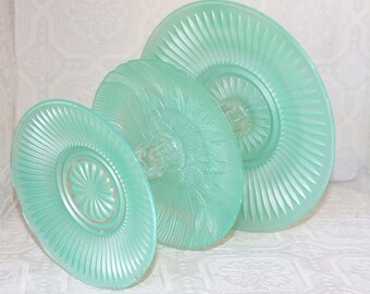 Mint Green Cupcake / Cake Stand Shabby Chic 3 Tier Serving Platter Made To Order