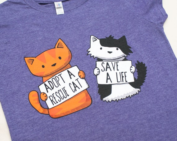 Large Ladies Rescue Cat  Purple  T-shirt