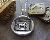 Horse wax seal necklace High Spirited antique wax seal jewelry Equestrian charm necklace by RQP Studio