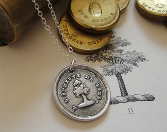 Steadfast Wax Seal Necklace antique French wax seal charm jewelry with tree Test Of Time by RQP Studio