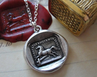 Horse Wax Seal Necklace - antique wax seal charm jewelry Obstacles Raise My Passion horse jumping necklace by RQP Studio