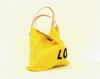 "Canvas Tote...""LOL"" GOLDENROD tote bag with PERSONALIZED leather label"