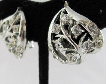 Heart Leaf Vintage Earrings Crystal Clear Rhinestones Silver Setting Wedding Bridal Gift