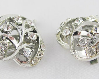 Heart Leaf Vintage Earrings Crystal Clear Rhinestones Silver Setting Wedding Bridal Gift