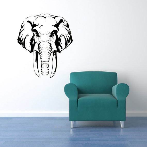 Elephant decor tusks african decor africa decal wall African elephant home decor