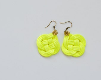 Neon Yellow Knot Earrings in Satin Cord, Neon Jewelry, Gift hor Her, Winter Spring Trends, Double Coin Knot