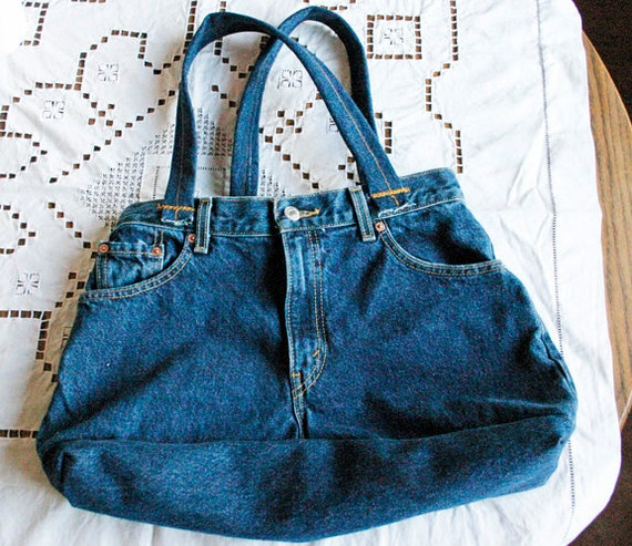 Blue Denim Jeans Medium Tote Bag Or Purse By