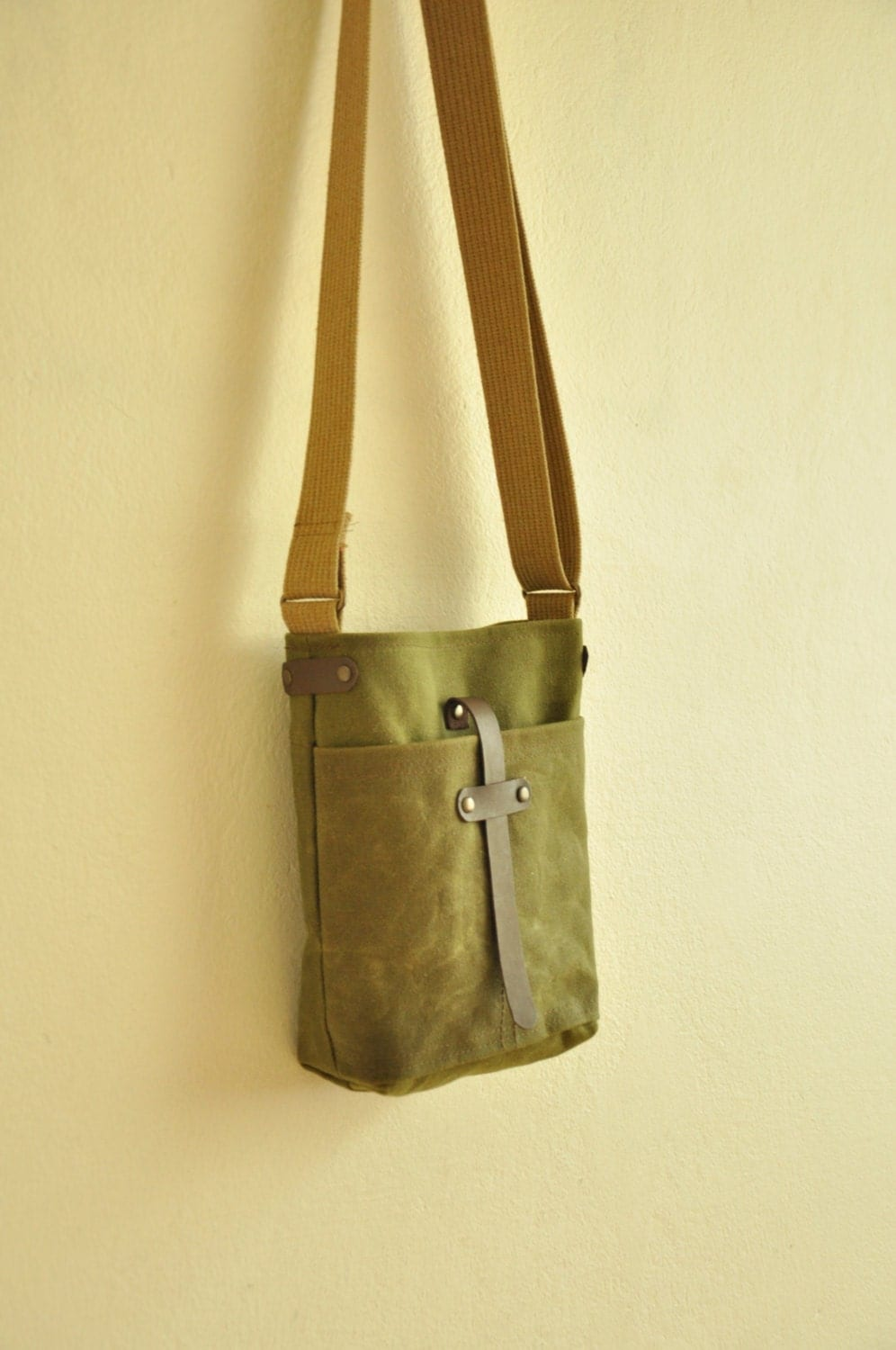 Waxed Canvas Bag Purse Leather Accessories Military Green