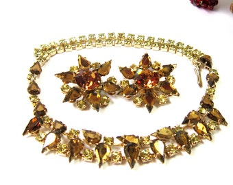 Vintage Jewelry Gold Jewelry  Necklace Earrings Set Topaz Citrine necklace Chocker Earrings Midcentury Jewelry Wedding Jewelry
