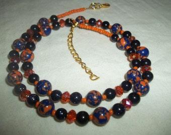 Orange Swarovski Crystal & Blue Goldstone Beaded Necklace