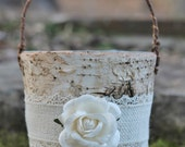 Birch Bark Rustic Flower Girl Basket Burlap Lace and A Paper Rose